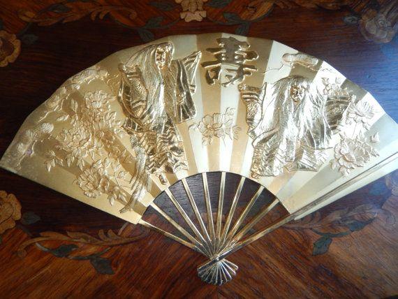 Chinese Gold Fan Etsy In 2020 Shadow Box Fan Wall Hanging
