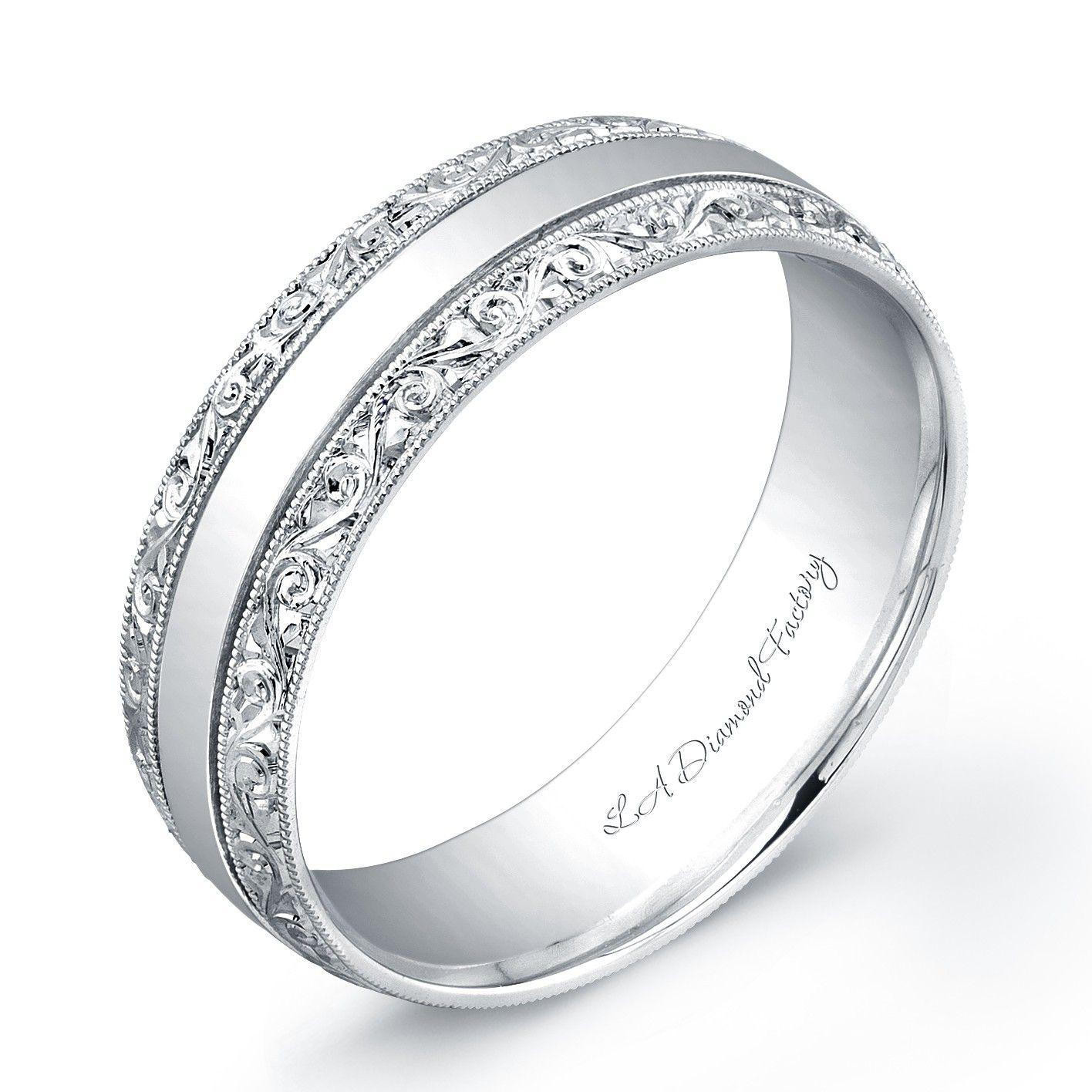La Diamond Factory Engraved Men S Wedding Band Mens Wedding Bands Gold Wedding Band White Gold Wedding Bands