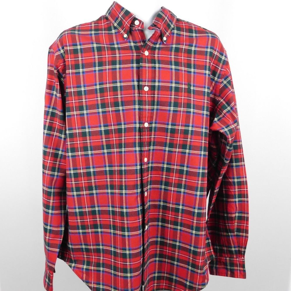 4298dffe Ralph Lauren Classic Fit Long Sleeve Red Plaid Light Flannel ...
