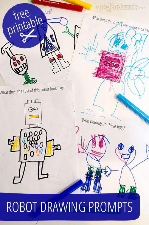 Robot Drawing Prompts - Free Printable | Para dibujar, Drawing y Tipis