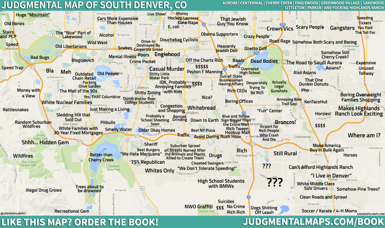 South Denver CO By Anonymous Copr  Judgmental Maps All - Chicago judgemental map