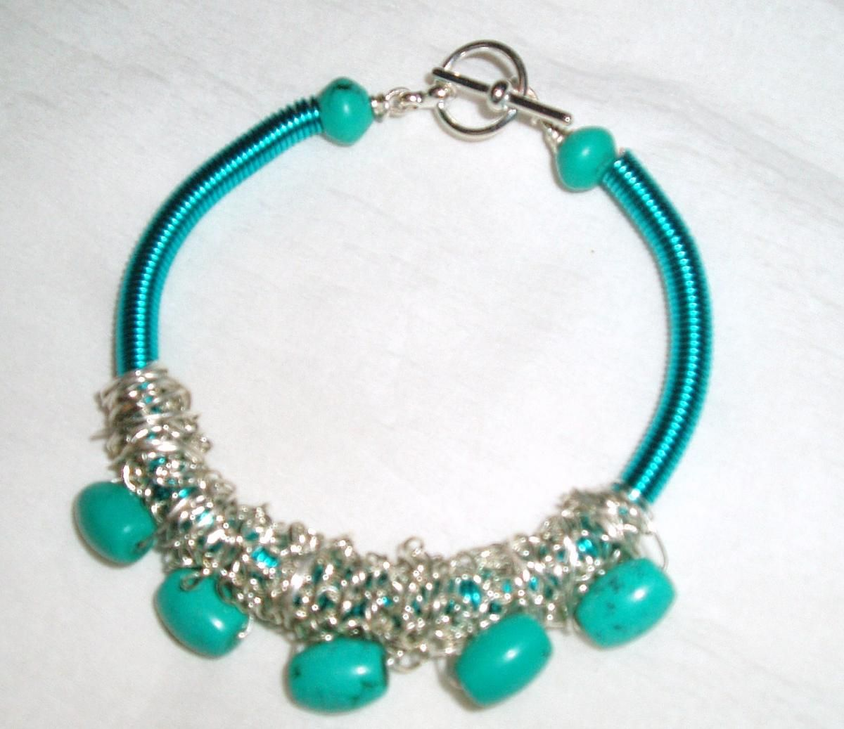 Turquoise Gemstone and Turquoise Wire Coil Bracelet Handmade ...