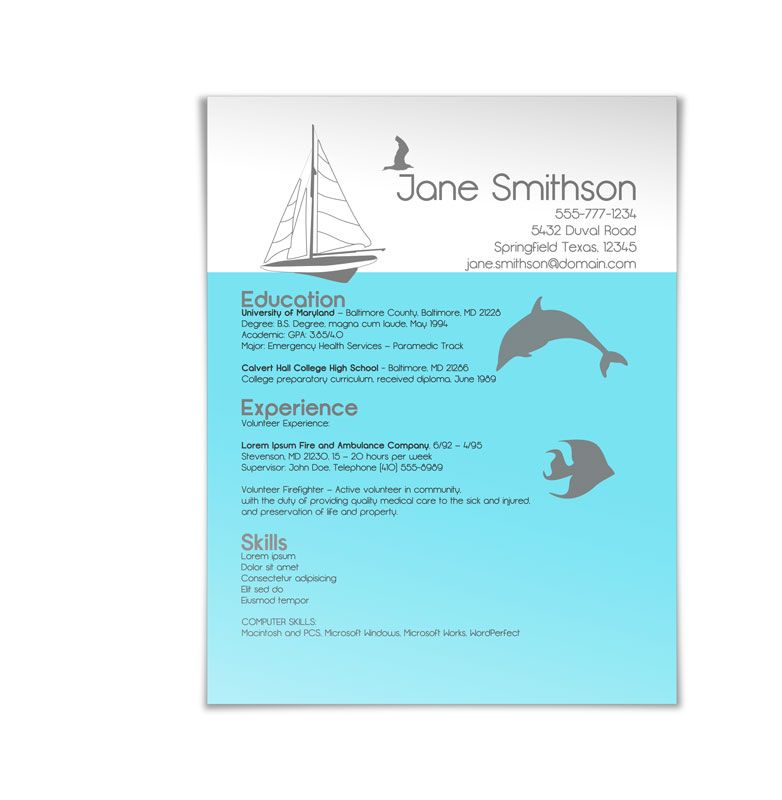 A recent resume design that we completed for a marine biologist