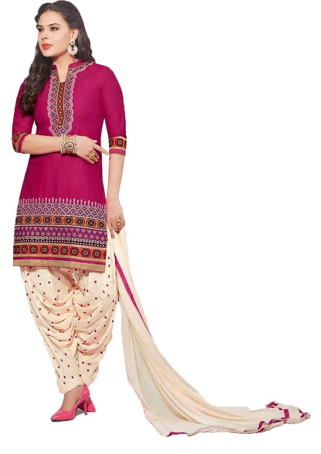 0180377721 chakudee by pink cotton drees material: Amazon.in: Clothing &  Accessories,Patiala