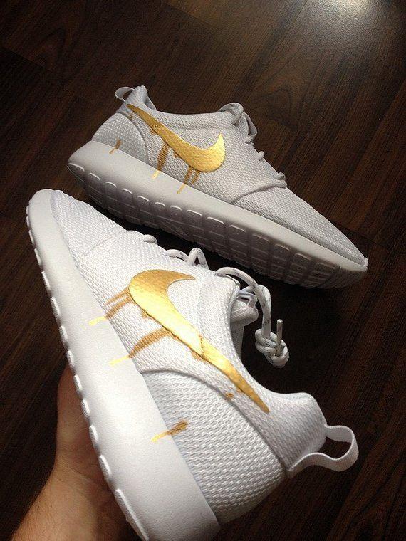 Nike Roshe Run One White with Custom Gold Candy Drip Swoosh  e3c41ce8e