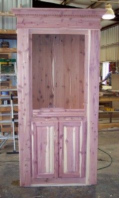 Aromatic Cedar Door. With Raised Panel Cabinet Doors, Upper Adjustable  Shelves, And Dentle Crown.
