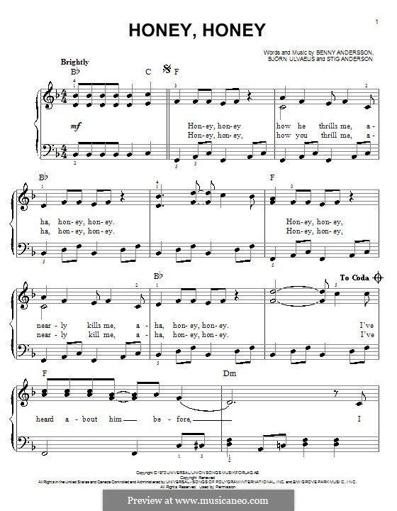 Honey Honey Abba Clarinet Sheet Music Piano Music Easy