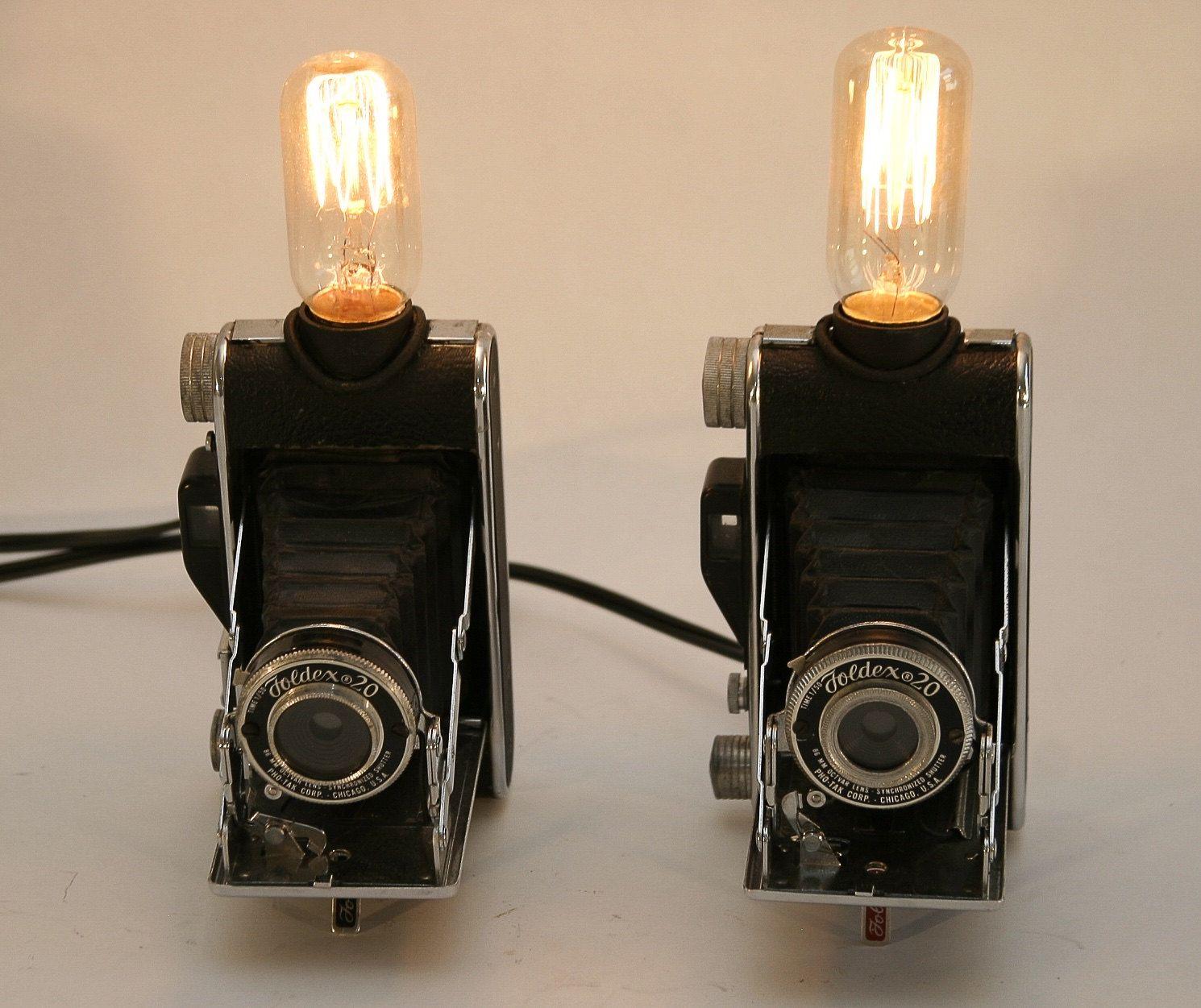 LAMP Vintage Kodak 1930s Fold Out Camera Lamps. Unique