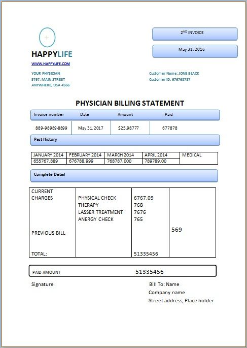 Physician Billing Statement  Medical Invoice Template