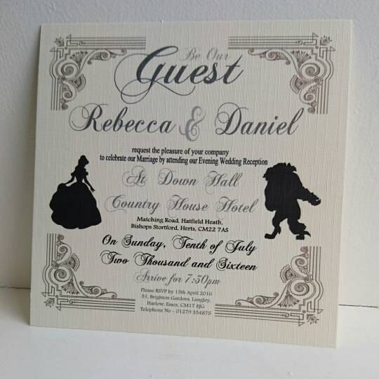 Beauty And The Beast Wedding Evening Invite By Rlaweddingdesigns
