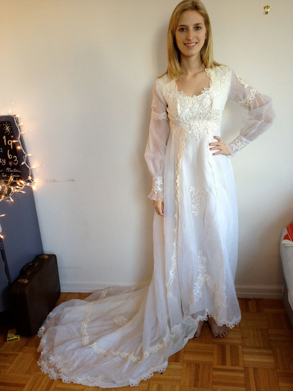 Wedding Dress 1960s 1970s Boho Hippie Chic Light Lace