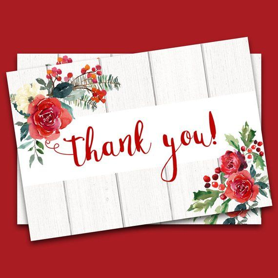 Red and Gold 5x7 Thank You Card  Instant Digital Download