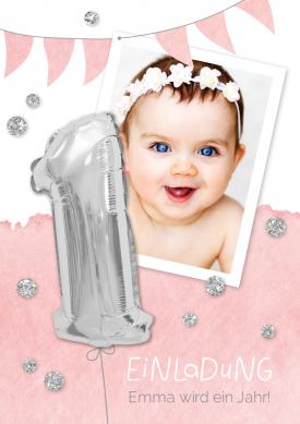 Silberne 1 Rosa Einladungen 1 Geburtstag Pinterest Baby