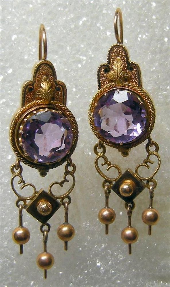 Gorgeous 14K ANTIQUE VICTORIAN AMTHYST EARRINGS #Unbranded #DropDangle
