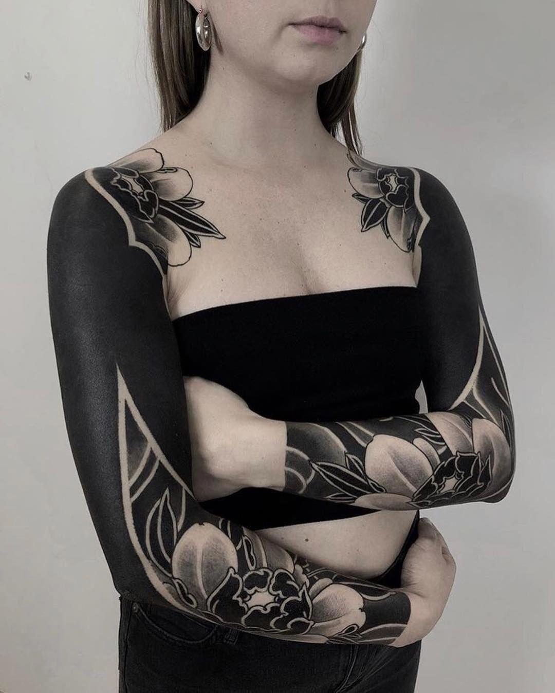 Tattoos For Women Black Sleeve Tattoo Solid Black Tattoo Blackout Tattoo