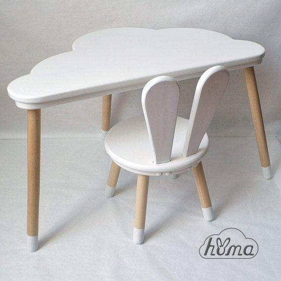 Kinderstuhl aus Holz Bunny und Tisch Cloud / Set für