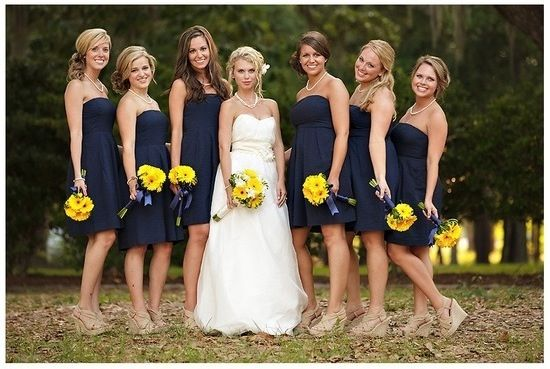 Bridesmaid dress colors with sunflowers
