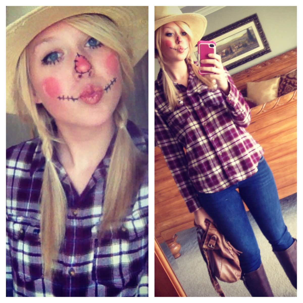 Scarecrow costume - super easy, flannel shirt, jeans or overalls ...
