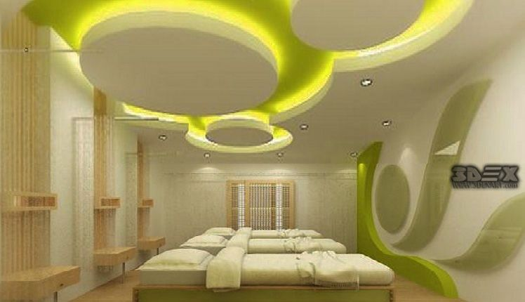 Ceiling Design Living Room With 2 Fans