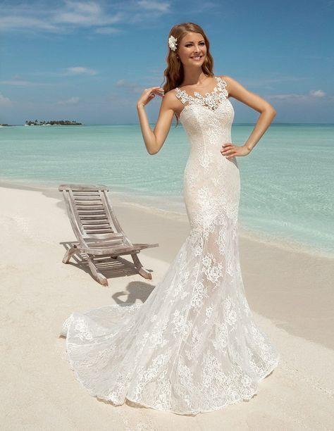 Datangep Women\'s Lace Mermaid Chapel Train Beach Long Bridal Gown ...