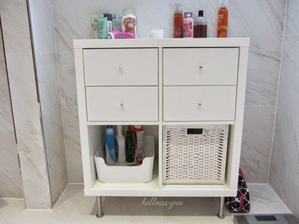 Helloissyxo new bathroom storage ikea kallax billy for Decoration kallax