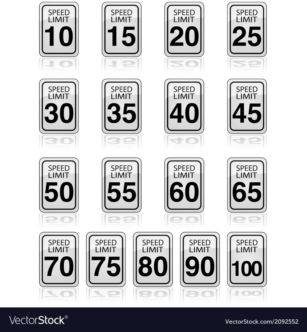 Speed limit signs Royalty Free Vector Image  VectorStock