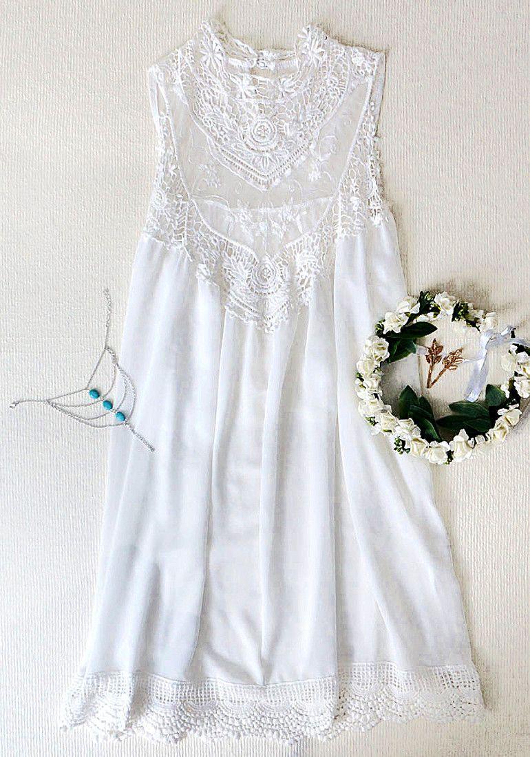 White Lace Chiffon Mini - Dress