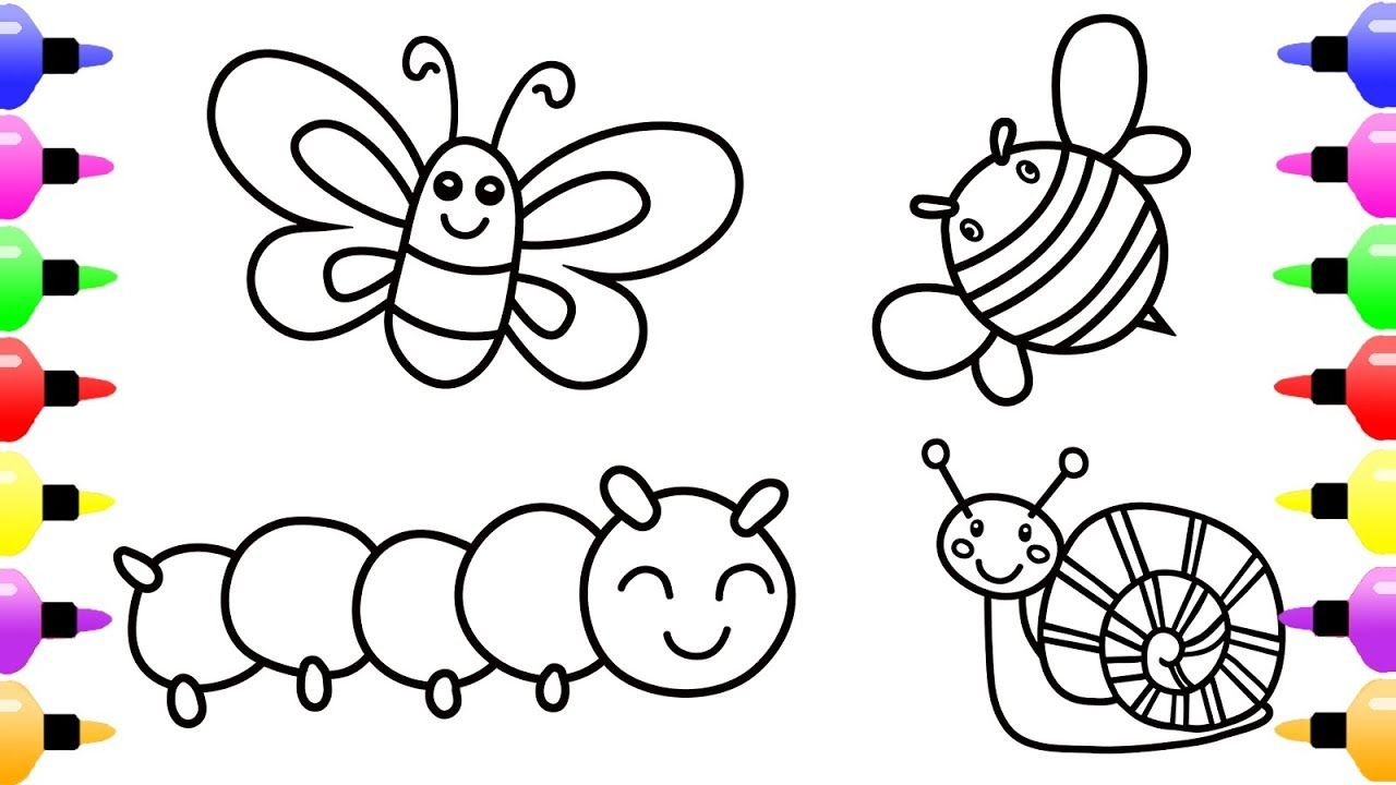 Insect Coloring Page For Kids With Cute Snail Coloring Book For Kids Insect Coloring Pages Coloring Books Coloring Pages For Kids