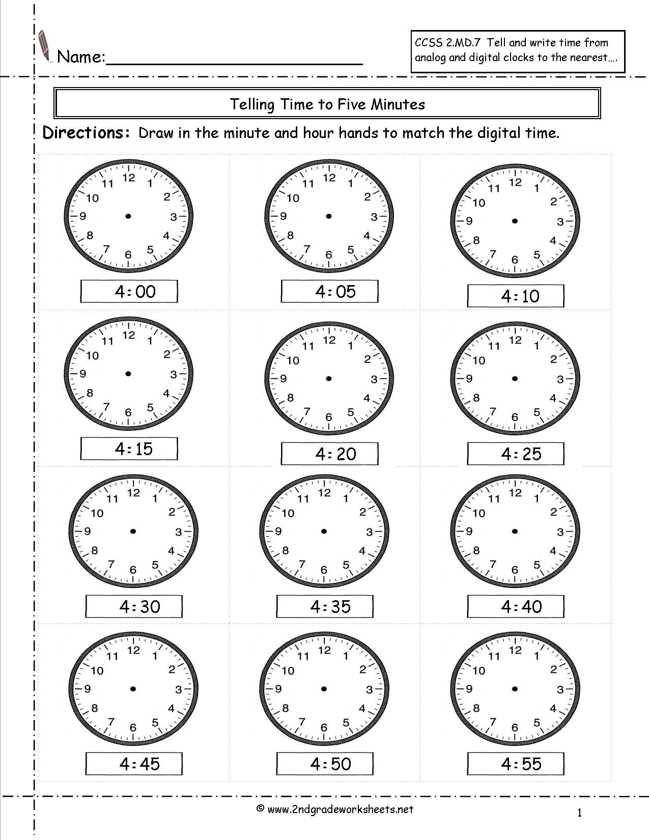 Marvellous Telling And Writing Time Worksheets Clock To The Hour  Tellingtimedrawhandsfourtofourfift ~ …   Telling time worksheets [ 1650 x 1275 Pixel ]