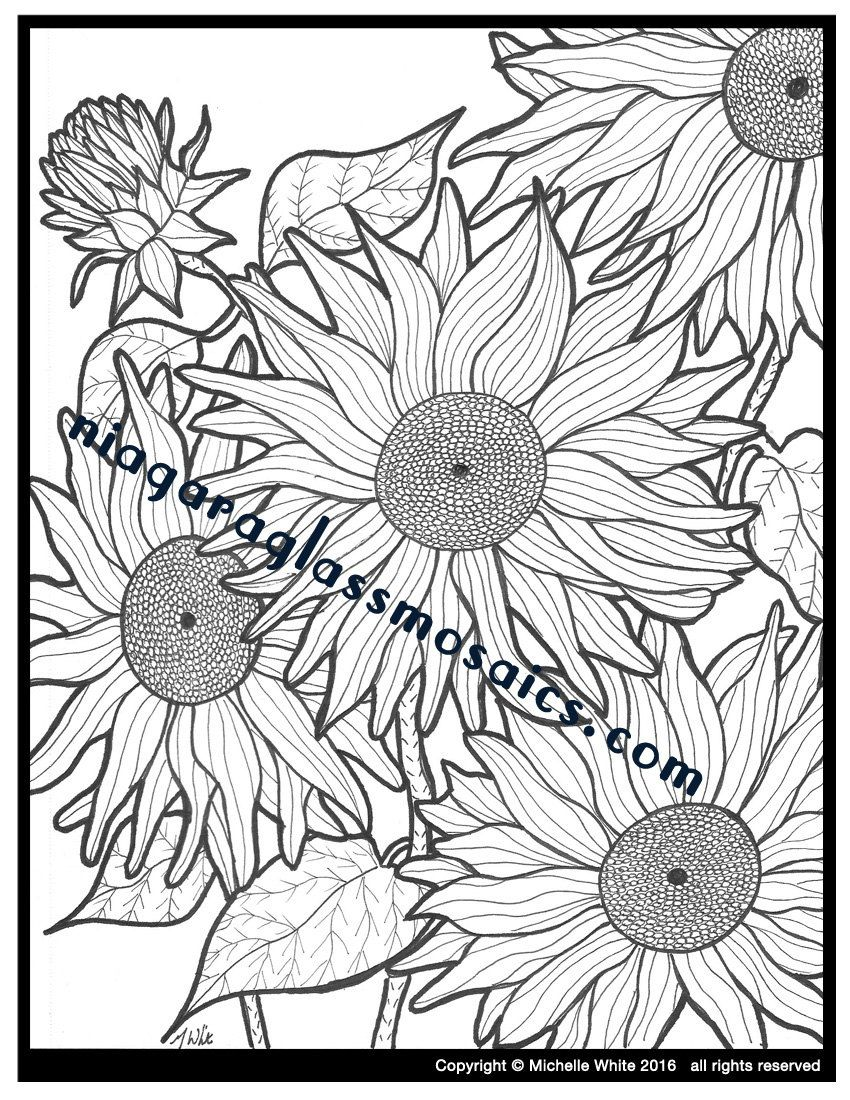 Sunflower Coloring Page | Adult Coloring Handmade | Flower Color ...