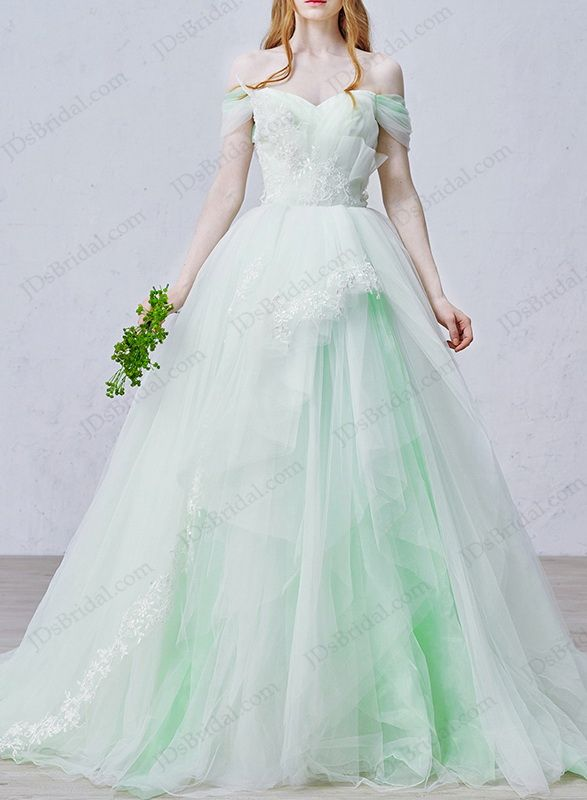 IS020 Fairy mint white off shoulder princess tulle wedding dress ...
