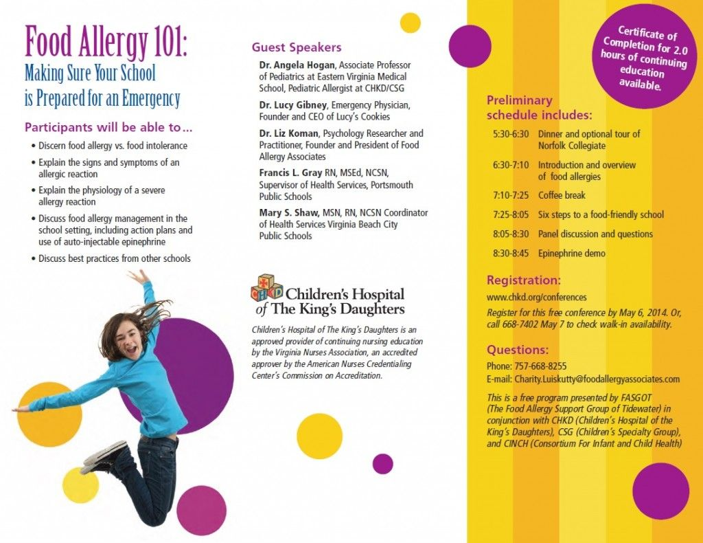 Food Allergy Awareness pamphlets | Food Allergy 101 Conference