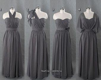 2be8f18b4f8 Long Bridesmaid Dress Grey Bridesmaid Dress Infinity dress Chiffon Dress  Long Convertible Prom Dress