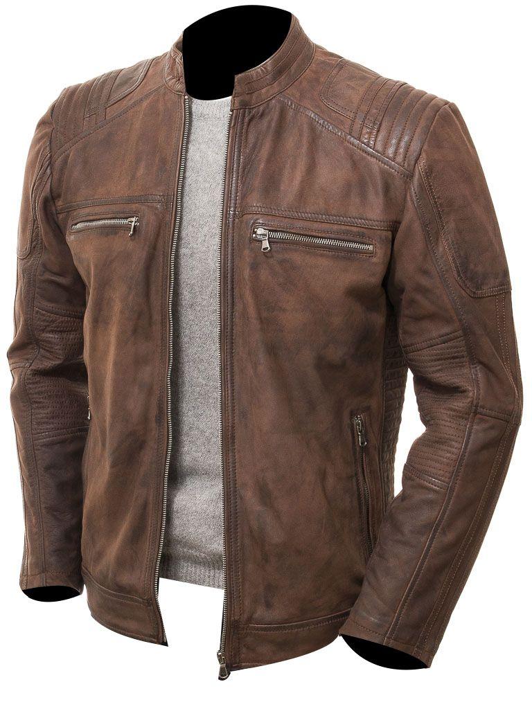 Dark Brown Cafe Racer Moto Biker Motorcycle Distressed Leather Jacket Mens Coats Jack Brown Leather Jacket Men Leather Jacket Men Leather Jacket Outfit Men [ 1024 x 768 Pixel ]