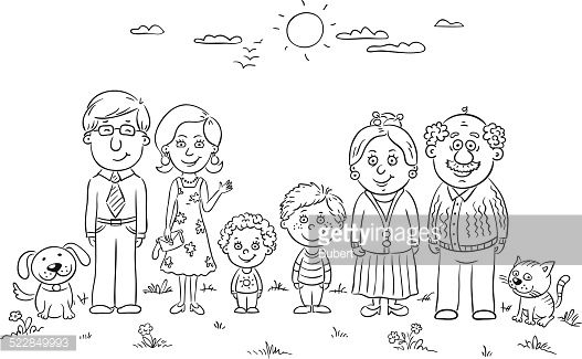 Free Clipart Picture Of My House And Family Black And White Outlines Google Search Family Drawing Family Coloring Pages Family Coloring
