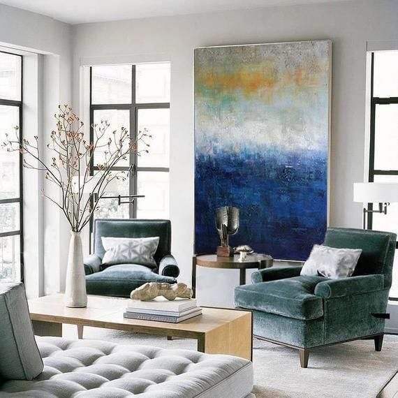 Light Blue Wall Paint: Light Blue Gray Abstract Painting, Large Paintings, Extra