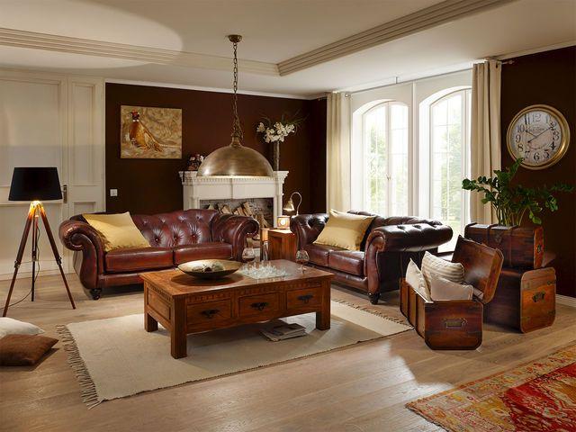 Englische wohnzimmer  Sofa Chesterfield Leeds rot von massivum.de Das 3-Sitzer-Sofa ...