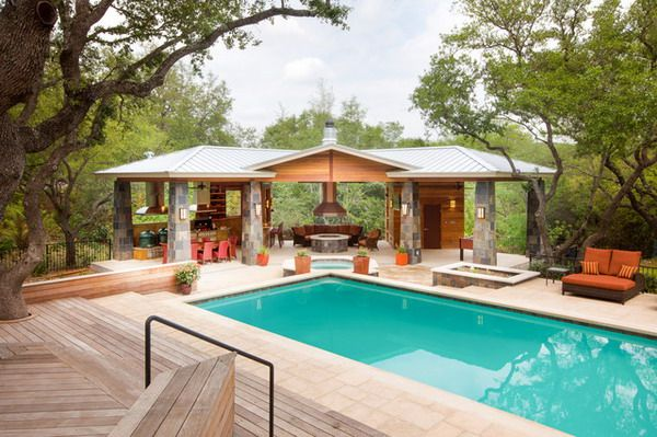 Set The Covered Outdoor Patio Entertaining Area Best Patio Design Ideas Pool House Designs Outdoor Kitchen Design Pool Houses