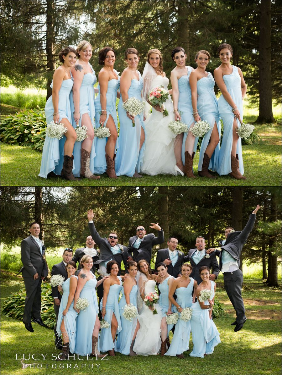 Funny wedding photograph for brides and their bridesmaids
