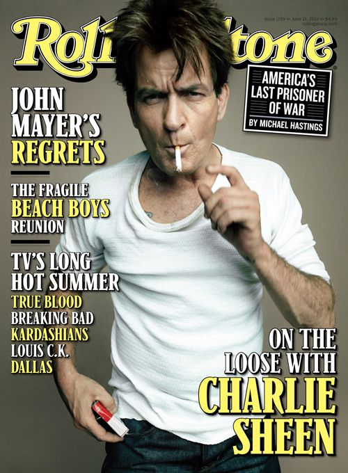 Charlie Sheen - is seriously one fucked up dude.  He's a father of 4 kids I believe?!  Grow the fuck up already!  Now back on TV, he still hasn't cleaned up his act.  In our new cover story on newsstands Friday, Charlie Sheen talks about his public meltdown, new TV show, being off the wagon, his foot fetish and more.
