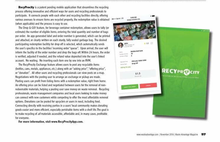 The November 2018 article on RecyProcity in the