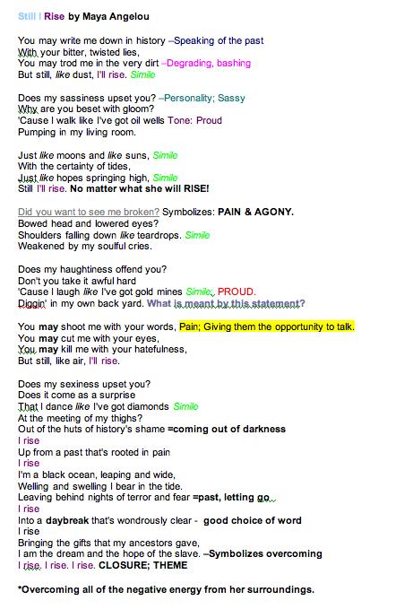 still i rise summary of each stanza