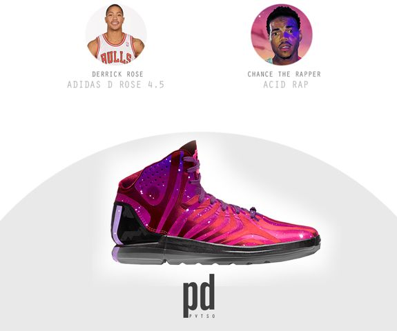 Derrick Rose Adidas D. Rose 4.5 x Acid Rap NBA Signature Shoes x Rap Albums