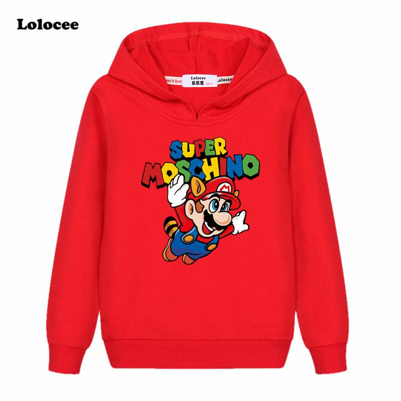 9845a0bca New Kids Cartoon Printed Sweatshirt Girls Boys Letters Super Mario ...