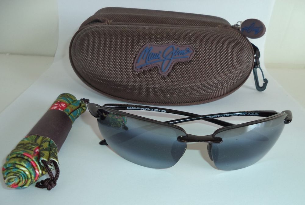 87c2b42da59 Maui Jim Ho okipa Polarized Sport Wrap Sunglasses MJ 407-02 Black Gray