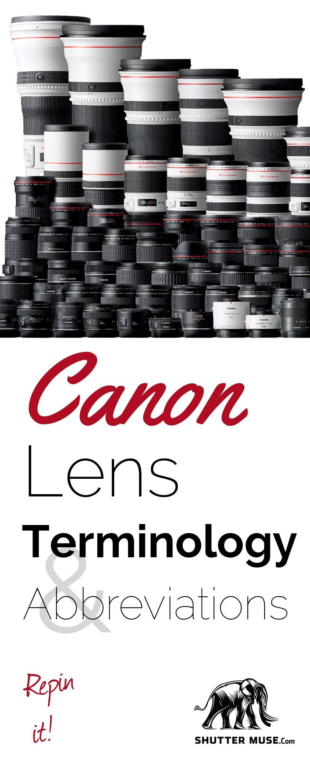 check out this great guide to canon lens terminology and rh pinterest com Tamron Lenses for Canon Canon 50Mm Lens