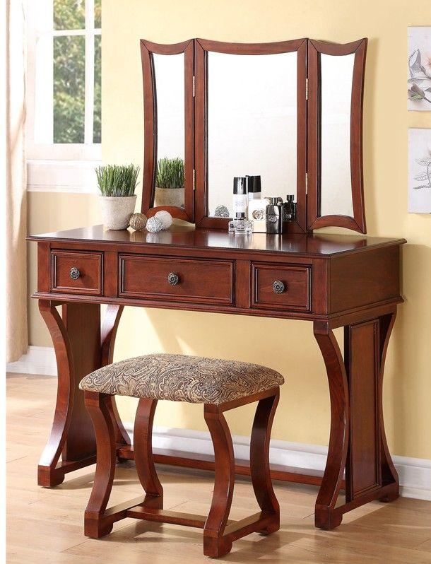 Poundex F4118 3 Pc Cherry Finish Wood Make Up Bedroom Vanity Set Tri