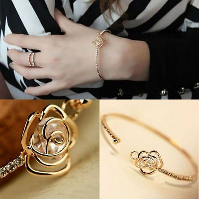 awesome Lovely Women Cute Crystal Flower Bangle Gold Filled Cuff Chain Bracelet Jewelry - For Sale View more at http://shipperscentral.com/wp/product/lovely-women-cute-crystal-flower-bangle-gold-filled-cuff-chain-bracelet-jewelry-for-sale/