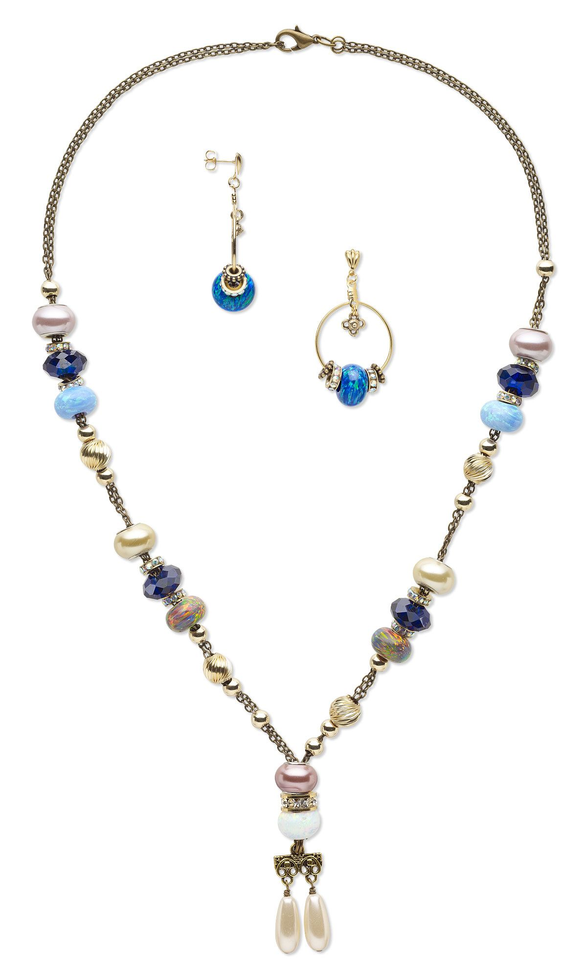 17ecaf98015bb Jewelry Design - Double-Strand Necklace and Earring Set with Dione ...