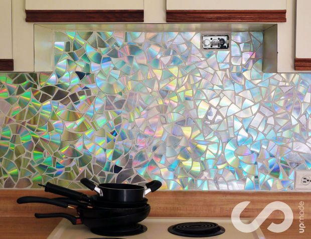how to: use old cds for mosaic craft projects - diy kitchen